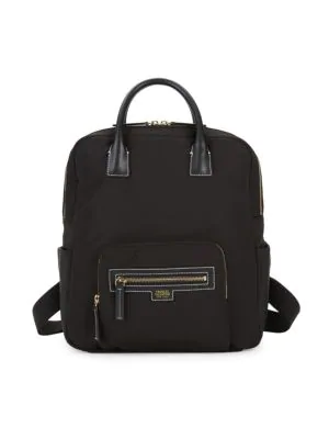 Frances Valentine Casey Leather-trim Nylon Backpack In Black