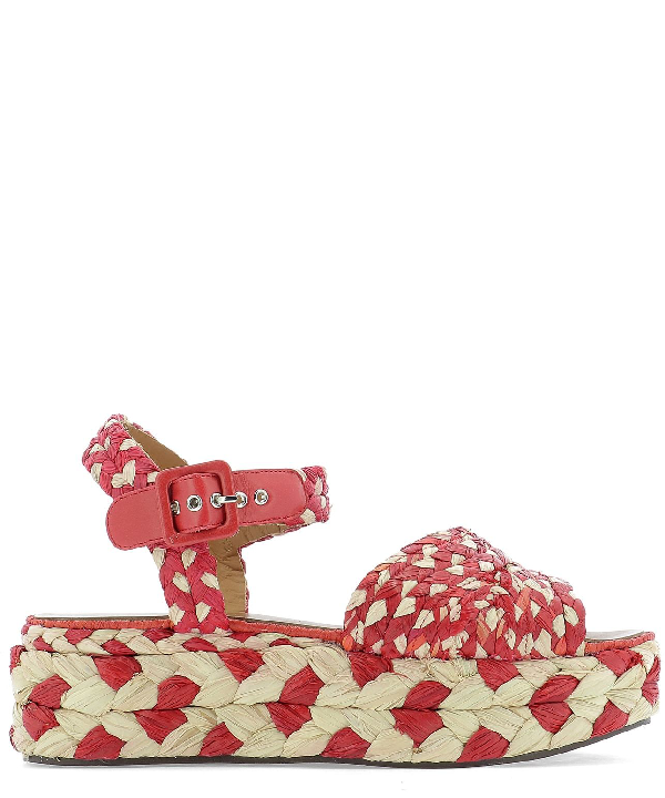 Robert Clergerie Women's Artemis Woven Platform Sandals In Red