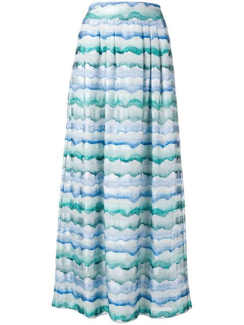Emporio Armani Waves Print Straight Skirt In Blue