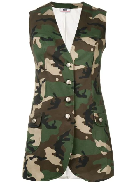 Gcds Camouflage Print Gilet In Green