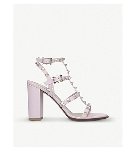 Valentino Rockstud Block-Heel Leather Sandals In Pale Pink