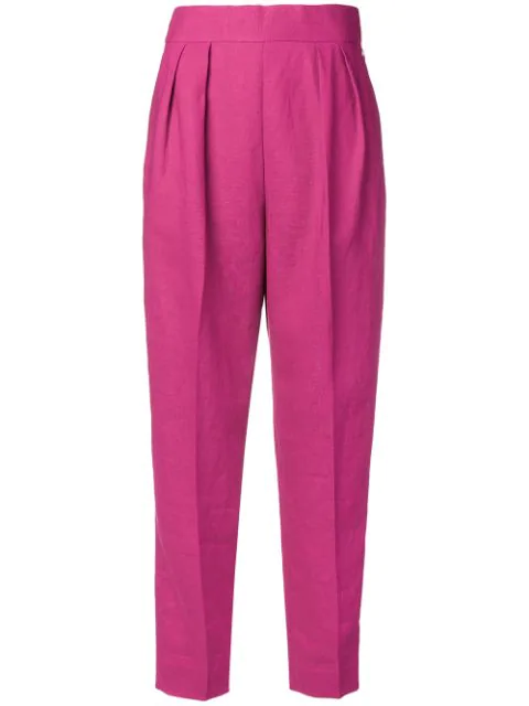 Theory Pleated Tapered High-rise Linen Trousers In Pink