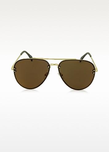 7f76cda870db Celine Mirror Cl 41391/S J5Glc Black Acetate & Gold Metal Aviator Unisex  Sunglasses