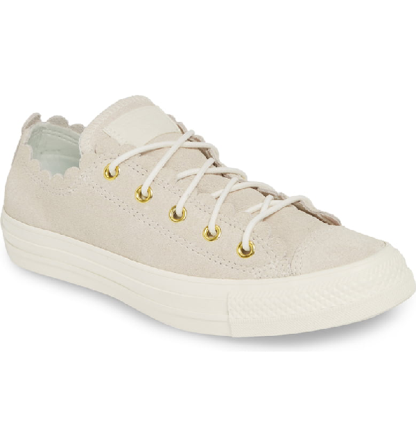 Converse Women's Chuck Taylor All Star Scalloped Low-Top Sneakers In Egret/ Gold/ Egret