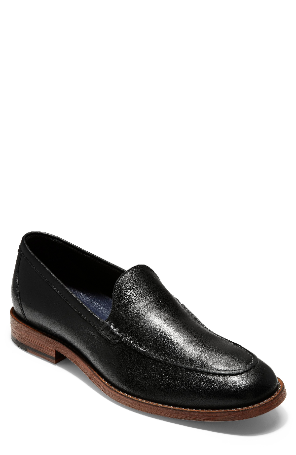 690ba0869f2 Cole Haan Men s Feathercraft Grand Venetian Leather Loafers In Black Leather