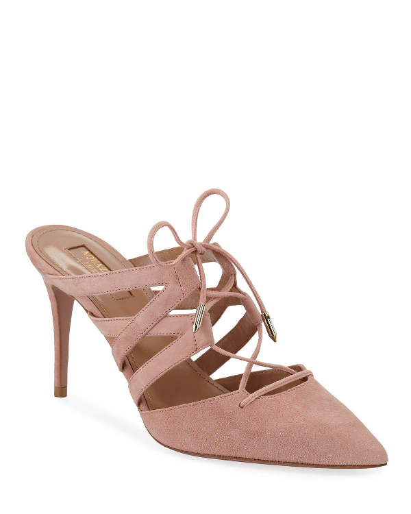 Aquazzura Belgravia Mid-Heel Suede Lace-Up Mules In French Rose