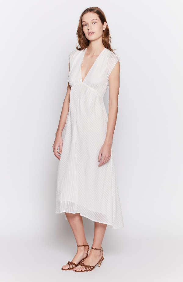 Joie Shaeryl Striped Midi Dress In Porcelain