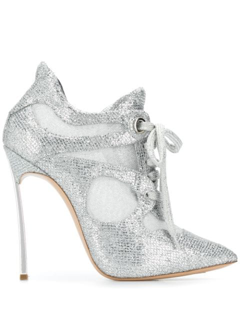 Casadei Glitter Panelled Booties - Silver