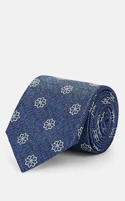 Fairfax Floral-Medallion Silk Necktie - Blue