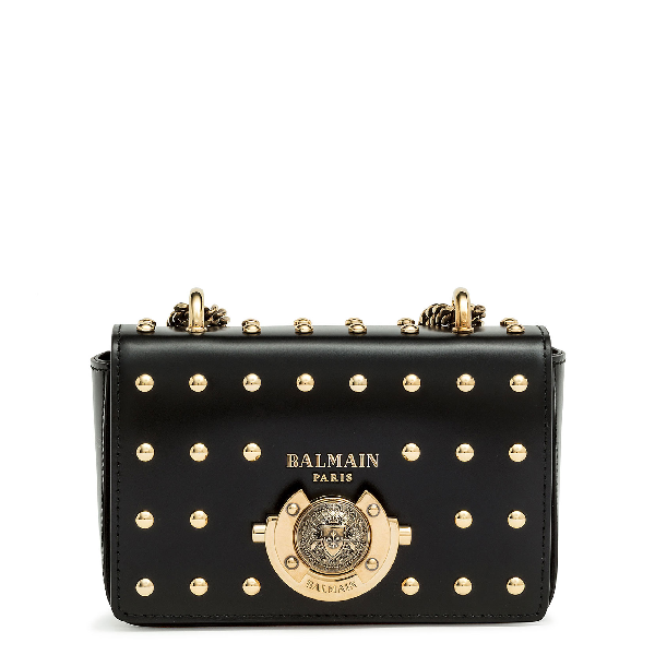 Balmain Baby Box Studded Leather Shoulder Bag - Black