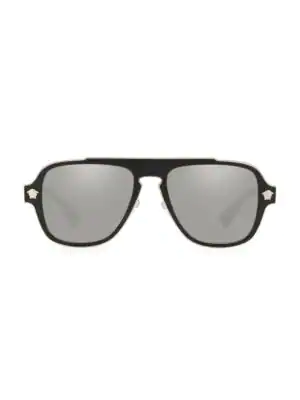 Versace Men's 56mm Pilot Sunglasses In Black