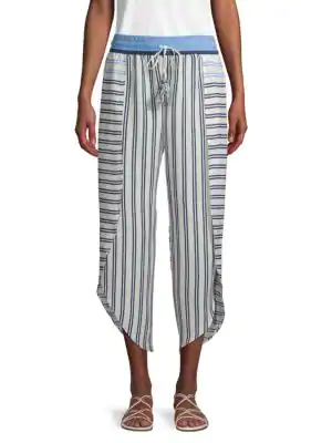 Equipment Sandra Striped Layer Pants In Porcelain Azura