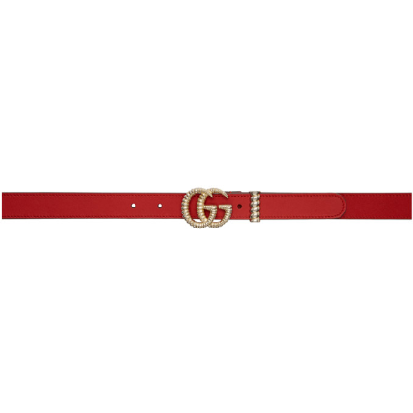 """Gucci Moon Leather Belt W/ Textured Gg Buckle, 1""""W In 6433 Red"""