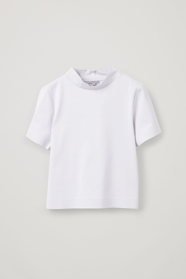 Cos Boxy Mock-Neck Jersey Top In Grey