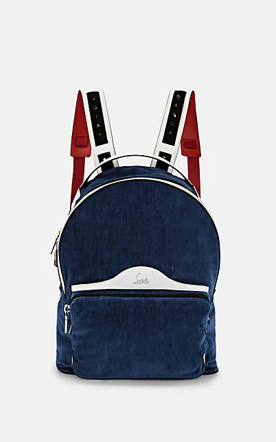 Christian Louboutin Backloubi Leather-Trimmed Velvet Backpack - Navy, Snow