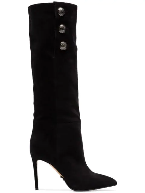Balmain Jane Button-Embellished Suede Knee Boots In Black