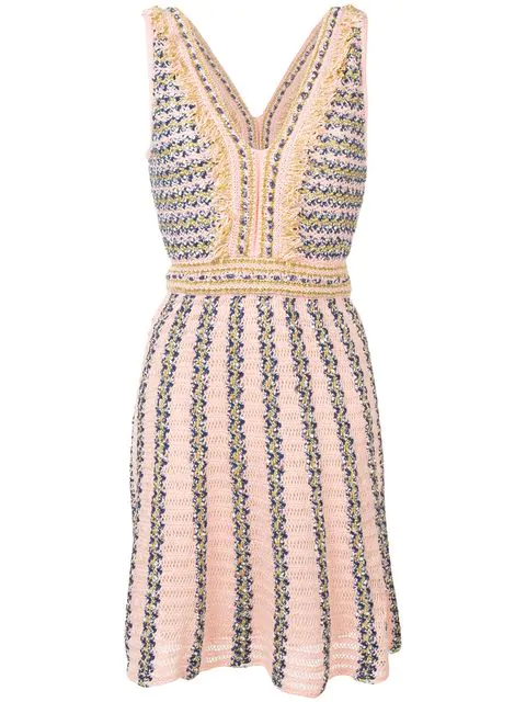 M Missoni Intarsia Knit Dress In Pink