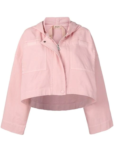 N°21 Cropped Hooded Jacket In Pink