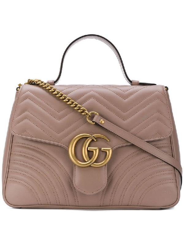 Gucci Gg Marmont Mini Chevron Leather Satchel Bag In Brown