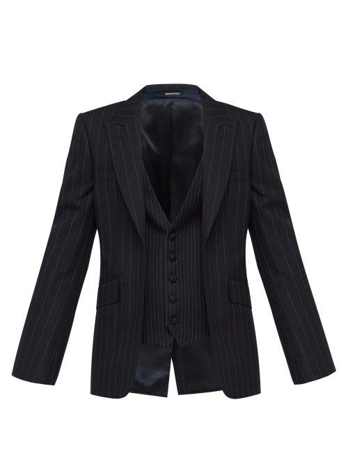 Alexander Mcqueen Double Layer Single Breasted Pinstripe Wool Blazer In Navy
