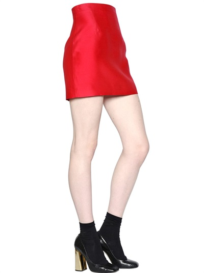 Dsquared2 Wool/Silk Blend Gazar Skirt In Red