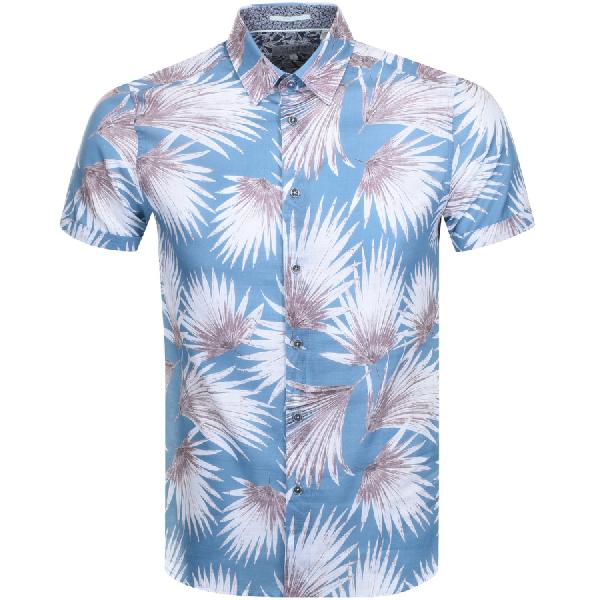 Ted Baker Short Sleeved Hedgehog Shirt Blue