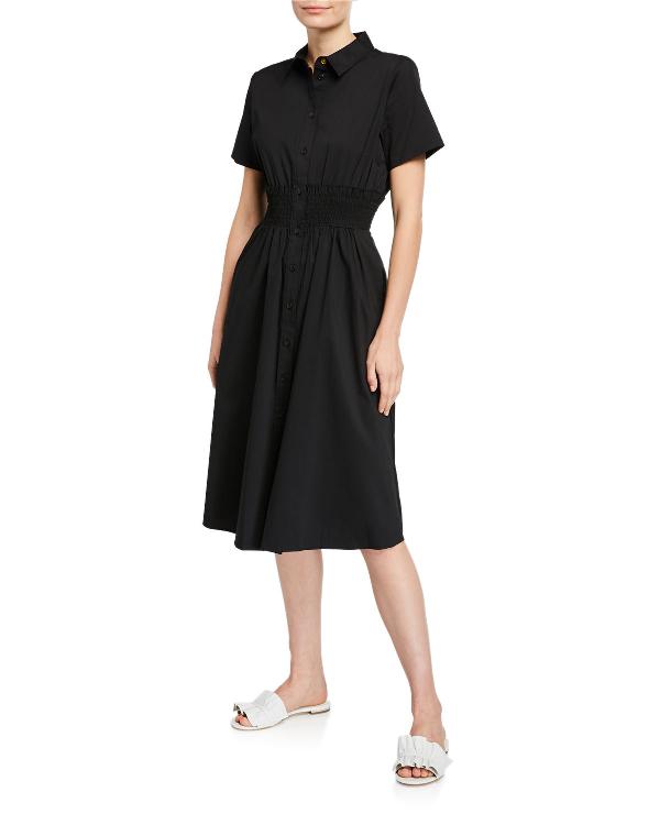 Dkny Donna Karan New York Short-Sleeve Shirt Dress In Black