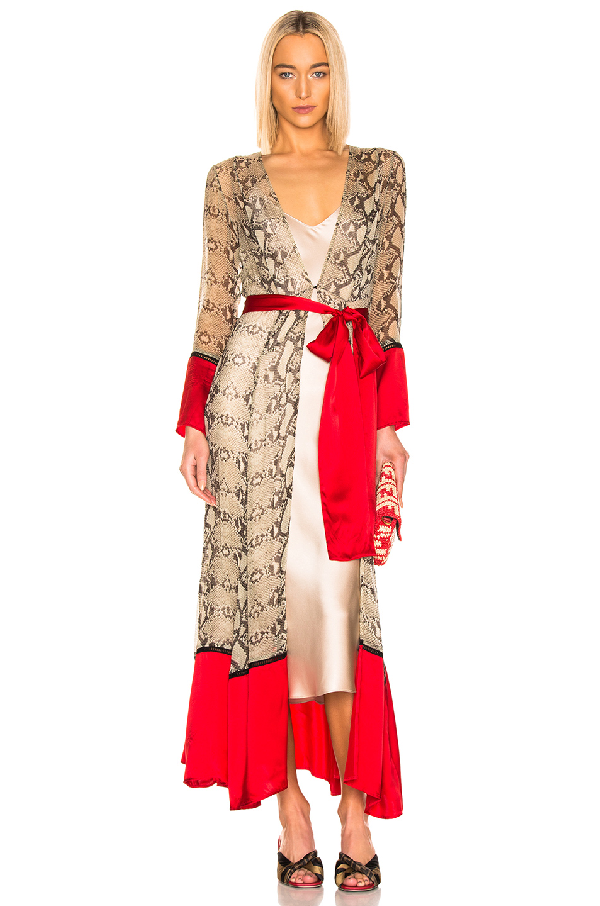 Contrast Maxi Cardigan in Python & Red