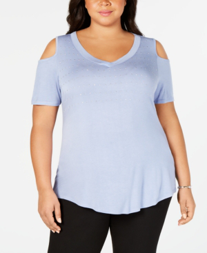 d8f293d29f789 Belldini Plus Size Embellished Cold-Shoulder Top In Perwinkle Silver. macy s