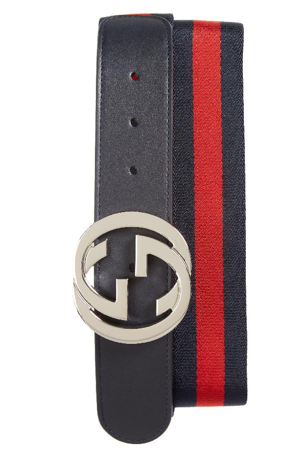 5d677736ff52 Gucci Logo Buckle Interlock Belt In Blue Multi