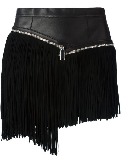 Dsquared2 Fringed Nappa Leather & Suede Skirt, Black