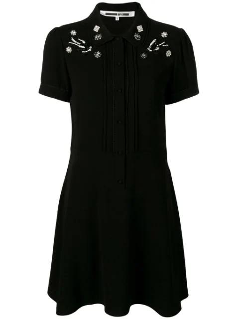 Mcq By Alexander Mcqueen Swallow Embellished School Dress In Black