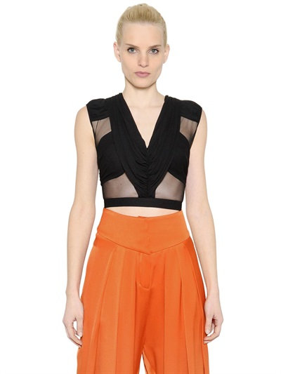 Balmain Draped Cropped Tulle & Jersey Top In Black