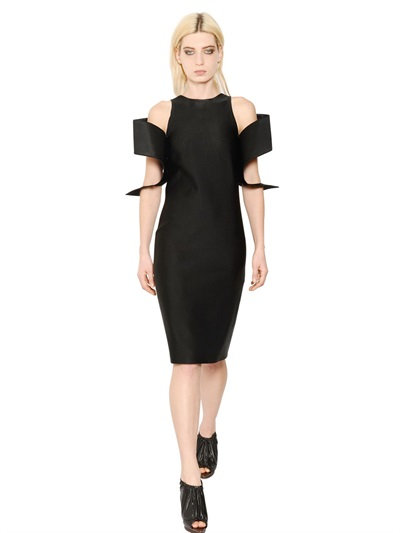 Christopher Kane Cotton Blend Satin Ottoman Dress In Black