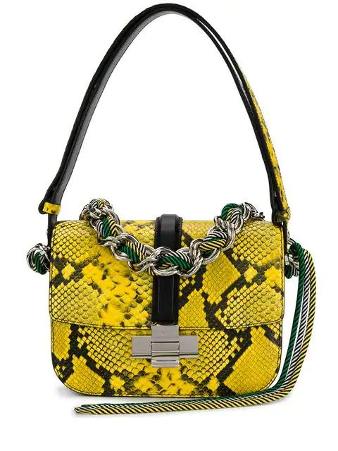 N°21 Nº21 Snakeskin Shoulder Bag - Yellow