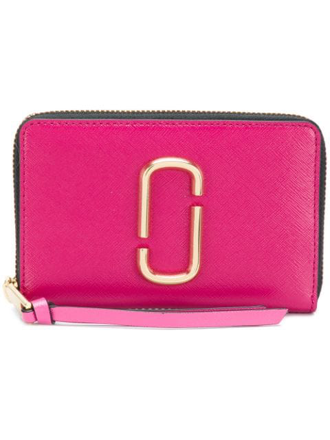 Marc Jacobs Snapshot Standard Small Leather Wallet In Pink