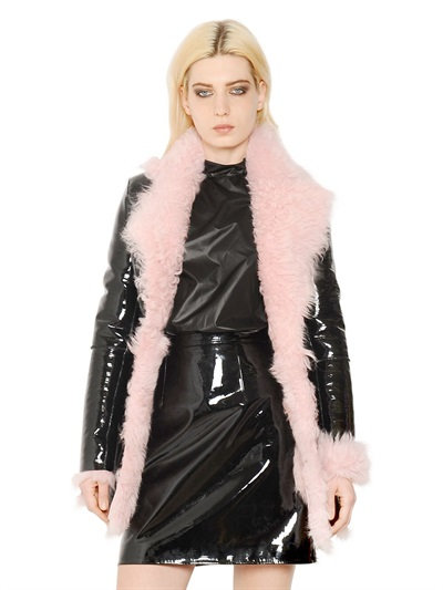 Christopher Kane Patent Leather & Shearling Coat In Black/Pink
