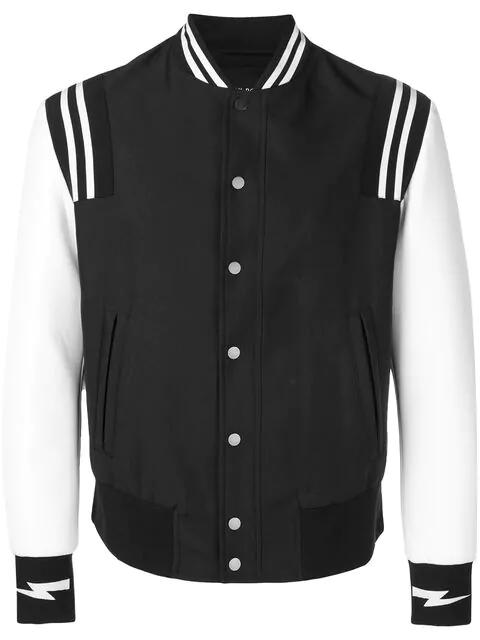 Neil Barrett Varsity Bomber Jacket In Black