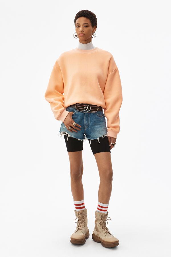 Alexander Wang Bite Shorts In Light Indigo Aged