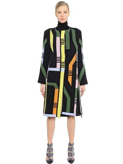 Peter Pilotto Geometric Ribbed Merino Wool Blend Coat In Multicolor