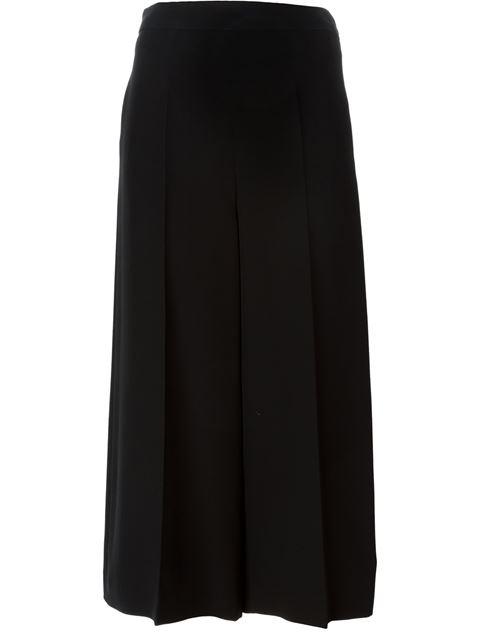 Valentino Woman Cropped Silk-Shantung Wide-Leg Pants Black