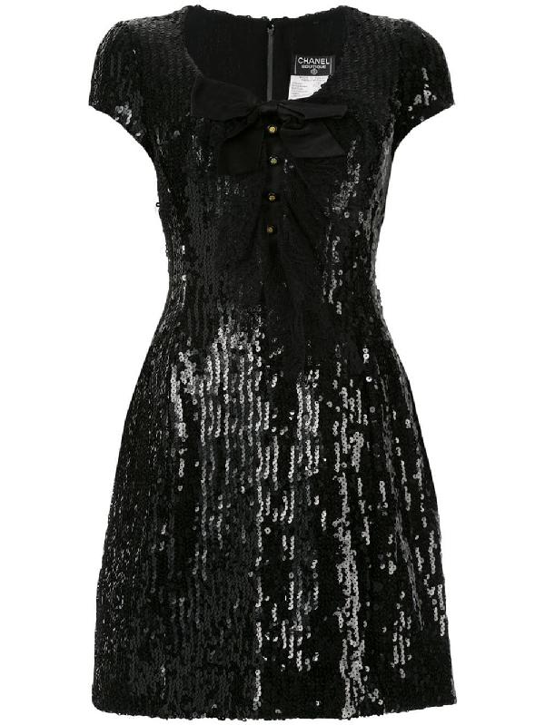 1ea24c35926 Chanel Vintage Short Sleeve One Piece Dress - Farfetch In Black