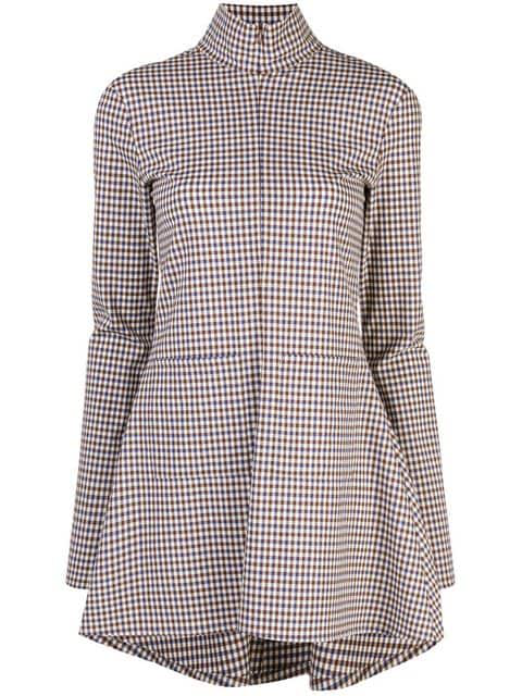 Rosie Assoulin Zipped Plaid Blouse In Multicolour