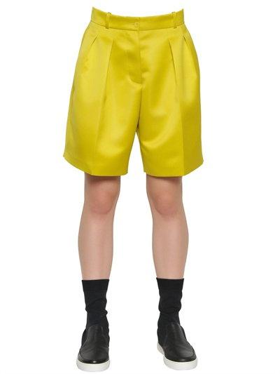 Jil Sander Pleated Techno Duchesse Shorts In Lime Green