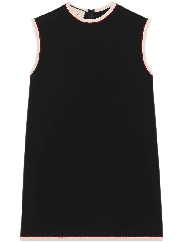 b609ffca Gucci Sleeveless Crewneck Cady-Stretch Tunic Top, Black/Red | ModeSens