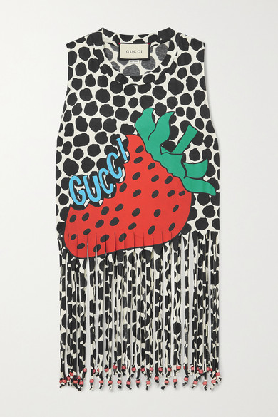 Gucci Strawberry-print Cotton-jersey Tank Top In Ivory