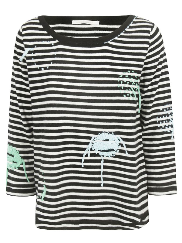 Saverio Palatella Embroidered Striped Jumper In Black/ivory