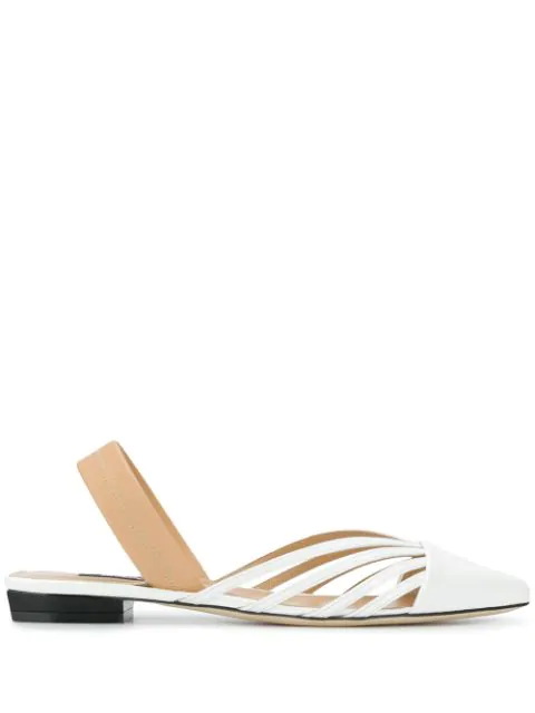 Sergio Rossi Flat Pointed Shoes In White