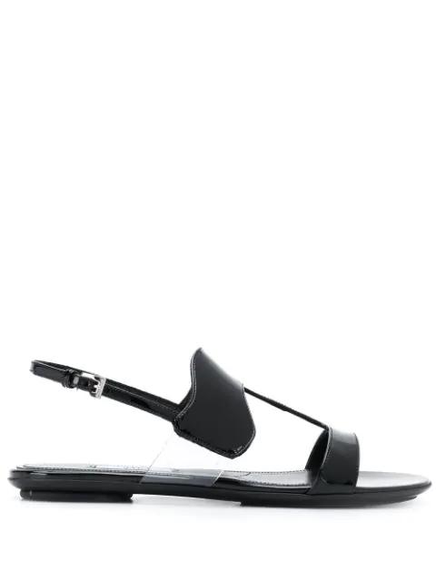 Prada Patent Leather Sandals In Black