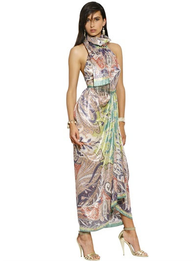 Etro Lurex Woven Cashmere & Silk Long Dress In Multicolor